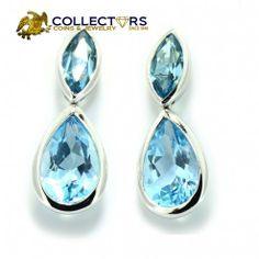 H. Stern 18K White Gold Blue Topaz Drop Dangle Earrings #designer #white #gold #blue #topaz #dropdangle #earrings #fashion #jewelry