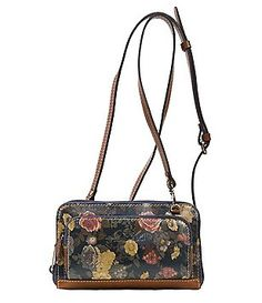 Patricia Nash Denim Fields Collection Andria Fl Cross Body Wallet