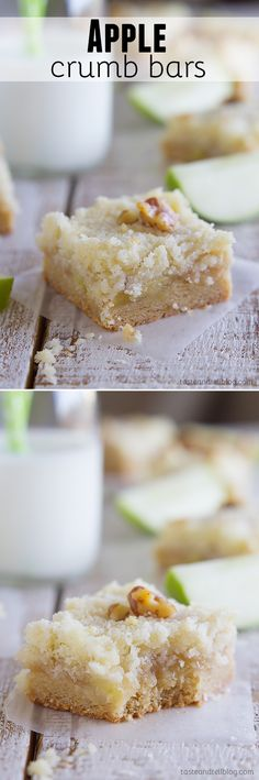 Apple Crumb Bars - A perfect dessert, these Apple Crumb Bars have sweet caramelized apples layered on top of a cookie crust and then sprinkled with a buttery streusel. More portable than pie for holiday parties Fall Desserts, Just Desserts, Delicious Desserts, Dessert Recipes, Yummy Food, Apple Desserts, Eat Dessert First, Dessert Bars, Apple Recipes