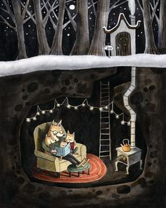 This is a print of the Fox Family cuddled up reading together in their cozy little den, complete with their Christmas Tree. Its made from an ink painting with color added digitally. Perfect for a nursery or kids room! Art And Illustration, Woodland Creatures, Ink Painting, Whimsical Art, Illustrators, Folk Art, Fantasy Art, Artsy, Art Prints