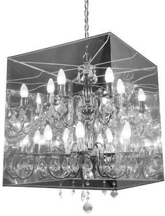 ZM Home Contemporary Translucent and Steel Ceiling Lamp A surreal boxed chandelier automatically makes any room more noteworthy Hanging Crystals, Chandelier Crystals, Ceiling Lamp, Ceiling Lights, The Centurions, Light Bulb Wattage, Contemporary Chandelier, Light Shades, Candelabra
