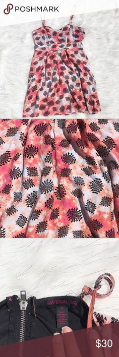 Macy's Material Girl Aztec Pattern Dress Juniors S 🌸Macy's Material Girl Aztec Pattern Dress 🌸Peach, Orange, Pink, White, Black 🌸cut outs on sides 🌸Juniors size small (fits me like a woman's xs) 🌸Excellent used condition  🌸No holes, stains, or rips  Open to offers!  Add to a bundle for a discount! 😄  🚭All items come from a smoke free home!🚭 🎀ship next day as long as it's not the weekend or holiday🎀 Macy's Dresses