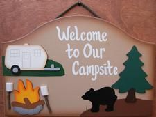 "9"" x 11"" Welcome your friends and family to your campsite with this handmade welcome to our campsite. This product is all made of wood and attached to each other on the back side with a durable black nylon rope. Welcome to our campsite sign is hand painted with exterior paint. Welcome to our campsite sign is very colorful, the edges of the welcome to our campsite sign is shaded, which create a very unique look. All of our wood products are handmade by The Matthews family at Uniquel..."