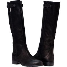 PAOLO IANTORNO Laurel Black Tall Flat Leather Boots (425 CAD) ❤ liked on Polyvore featuring shoes, boots, black, tall knee high boots, real leather boots, flat knee high boots, genuine leather boots and flat leather boots