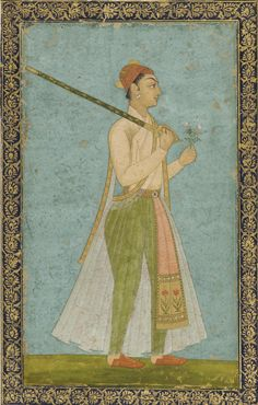 South Asian and Himalayan Art | Portrait of a young prince.  ca. 1725     Color and gold on paper H: 19.0 W: 11.3 cm  Golconda?, India   F1930.22