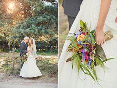 Colourful woodland wedding Studland Dorset