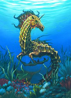 Another version of a seahorse( hippocampus). Mythical Creatures Art, Underwater Creatures, Mythological Creatures, Magical Creatures, Fantasy Creatures, Fantasy World, Fantasy Art, Seahorse Art, Seahorses