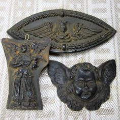 Set of 3 Angels Cast Black Beeswax Primitive Very by MagpieJane, $12.00