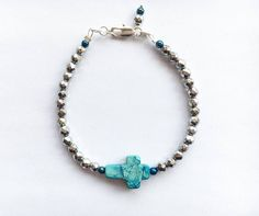 Turquoise Sediment Jasper and Silver Hematite beaded bracelet - Silver bracelets - Boho bracelets - Bohemian - Gipsy style - Stack bracelet - Festival jewelry