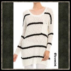 OVERSIZED IVORY SWEATER W/STRIPES & POCKET - SMALL There's nothing more comfortable on a chilly morning , than an oversized, cuddly sweater that can serve multiple purposes. Layer it with a cami underneath , and have one shoulder hanging off.  As the day warms up, remove the sweater and tie around your hips or the neck.  This sweater is 100% soft Acrylic, and is 33 inches long. Available in S, M, and L. NO HOLDS OR TRADES.  PRICE IS FIRM, UNLESS BUNDLED. THIS LISTING IS A SIZE SMALL. Double…