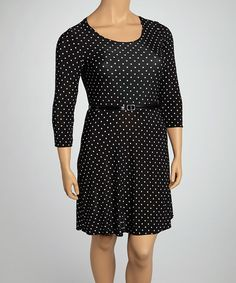 Take a look at this Black & White Polka Dot Belted Three-Quarter Sleeve Dress - Plus by Star Vixen on #zulily today!