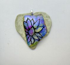 Purple Yellow Blue Dichroic Flower Fused Glass Pendant by Chris1