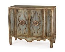 "42"" Long Two Doors Side Sideboard Buffet Cabinet Panels  Hand Painted Acanthus L"