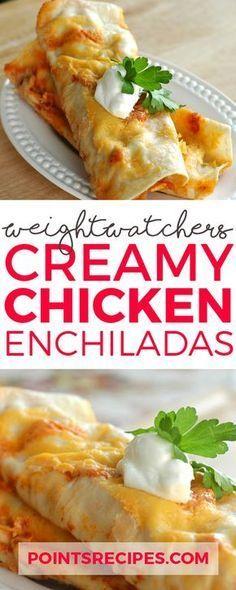 Creamy Chicken Enchiladas (Weight Watchers SmartPoints) 6 pts each Skinny Recipes, Ww Recipes, Light Recipes, Mexican Food Recipes, Cooking Recipes, Mexican Dishes, Easy Cooking, Weight Watcher Dinners, Chicken