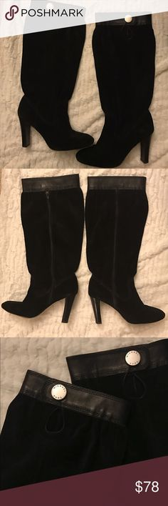 Michael Kors Black Slouchy Harness Boots Michael Kors slouchy suede harness boots in black with silver hardware. Show signs of wear but definitely still have a lot of life left in them - please reference photos as they are priced accordingly! 3.5 inch heel and come up to right above the calf. Michael Kors Shoes Heeled Boots