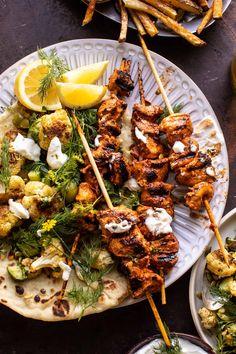 Pollo Tandoori, Lebanese Chicken, Grilled Chicken Skewers, Herb Salad, Toasted Pumpkin Seeds, Half Baked Harvest, Comfort Food, Chicken Recipes, Healthy Eating