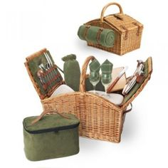 A picnic in the countryside wouldn\'t be complete without our Somerset English-style Luxury Baskets! The Somerset Romantic Basket is a double-lid willow basket with genuine leather straps, plush sage green corduroy interior, and deluxe service for two. Picnic Set, Picnic Time, Summer Picnic, Picnic Cooler, Picnic Ideas, Outdoor Cooler, Garden Picnic, Camping Ideas, Outdoor Fun