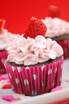 Chocolate-Strawberry Cupcakes