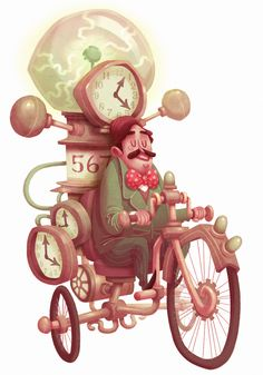 by Tim Mack : HISTORICAL FIGURE #13  H.G. Wells on his time machine bicycle.