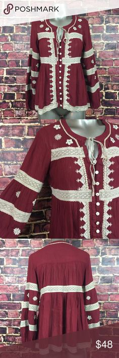 Free People Iris Boho Blouse Maroon XS Long Sleeve Hard to find Free People Iris Blouse in maroon, size XS. No flaws and very gently used. Free People Tops Blouses