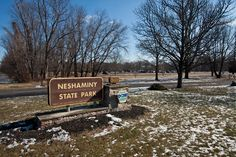 Neshaminy State Park is along the Delaware River in lower Bucks County. The park takes its name from Neshaminy Creek, which joins the Delaware at this point. The park measures 339 acres. The picnic areas and swimming pools are the most popular park attractions. Boating access to the Delaware River is provided at the marina.