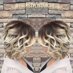 Rooty blonde ash colored curled bob hair @hairstylist.rachel