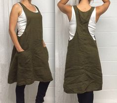 Linen Jumper Dress  Romper  Overall by MissesCountry on Etsy