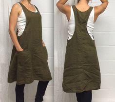 Linen Jumper Dress Romper Overall por MissesCountry en Etsy