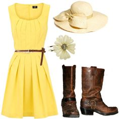 So cute. Those boots. Dress. Hair accessory. If only I looked good in yellow and hats...