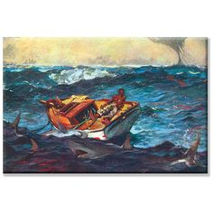 Bold and exciting, this canvas art from Winslow Homer depicts a ship caught at sea during a storm. Artist: Winslow Homer Title: Storm Product type: Canvas Art Style: Contemporary Size: Small Format: P