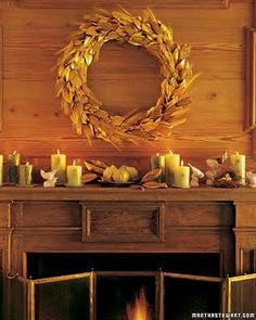 thanksgiving mantle. I love the wheat wreath.