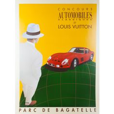 Authentic PreOwned® Louis Vuitton Ferrari GTO 250. Original vintage poster hand signed by the artist Razzia and archivally mounted on linen.