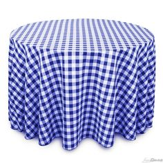 Buy 108 inch round, blue & white checkered tablecloth for weddings! Seamless and machine washable table linens, these wedding tablecloths are perfect for other special events too.