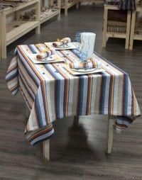 Nappe métis 60 % coton / 40 % lin. Nappe 100 % Made in Tarn.  Nappe bleu jaune
