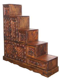 Antik Look Bauernschrank Schrank Kommode Treppenschrank Stair Cabinet Links N1