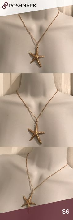"""Starfish necklace Gold plated. Chain is about 16"""" long with 2"""" extension. Jewelry Necklaces"""