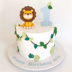 So many cakes to post but I'm starting with this cutie! Lion Birthday, Baby Boy 1st Birthday Party, Baby Birthday Cakes, Jungle Theme Cakes, Safari Cakes, Jungle Safari Cake, Zoo Cake, Lion Cakes, Cupcake Cakes