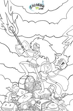 Lady Rainicorn Coloring Pages Printable Adventure Time Lady