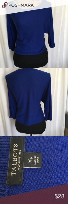 Talbots Woman Petite Lightweight Color Block Top Beautiful Cobalt Blue with Black Color Block Bank at bottom Size XP Dolman 3/4 sleeve. Bust 21.5 Length 24.5. 61% Viscose 30% cotton 9% Nylon. Machine wash. Talbots Tops