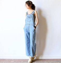 Faded Levis Overalls, Denim Blue Jean Dungarees Pants, worn in rustic country western work wear, petite grunge 80s 90s coveralls jumpsuit
