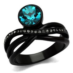 Black Ion Plated Stainless Steel Blue Top Grade Crystal Women's Engagement Ring