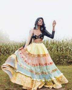 Gorgeous Indian Canadian bride in a black blouse and multi colour skirt bridal lehenga from Toronto. #Frugal2Fab Indian Lehenga, Indian Gowns, Indian Attire, Indian Wear, Lehenga Choli, Indian Diy, Dress Indian Style, Indian Fashion Dresses, Indian Designer Outfits