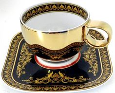 VERSACE Medusa Expresso Cup and Saucer Tea Cup Set, My Cup Of Tea, Tea Cup Saucer, Tea Sets, Teapots And Cups, Teacups, China Tea Cups, Tea Service, Chocolate Pots