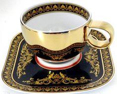 VERSACE Medusa Expresso Cup and Saucer Tea Cup Set, My Cup Of Tea, Cup And Saucer Set, Tea Cup Saucer, Tea Sets, Teapots And Cups, Teacups, China Tea Cups, Tea Service