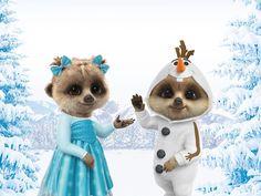 Oleg and Ayana are Frozen! Baby Meerkat, Jingle Bells, Maya, Teddy Bear, Animation, Christmas Ornaments, Holiday Decor, Funny, Cute