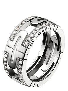 BVLGARI Parentesi 18ct white-gold and pavé-diamond ring