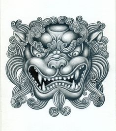 Image result for fu dog head tattoo