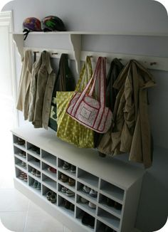 Home Decor Best shoe storage bench DIY porch ideas # Bank . Coat And Shoe Storage, Shoe Storage Bench Entryway, Mudroom Cubbies, Porch Storage, Hallway Storage, Ikea Storage, Wall Storage, Closet Storage, Bedroom Storage