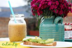 OJ + Strawberries + Banana + Spinach = Perfect breakfast drink