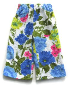 vintage style from wary meyers' shop. turn vintage terry cloth print into kids pants! #upcycling